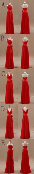 2017 Mismatched Junior Chiffon Red Long A Line Formal Cheap Maxi Bridesmaid Dresses with Bow, WG63