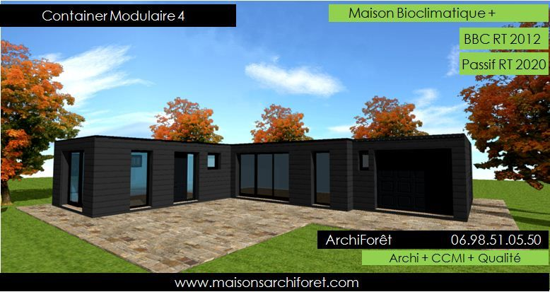 container modulaire 4 photo maison container plan construction bois on the rock black maison. Black Bedroom Furniture Sets. Home Design Ideas