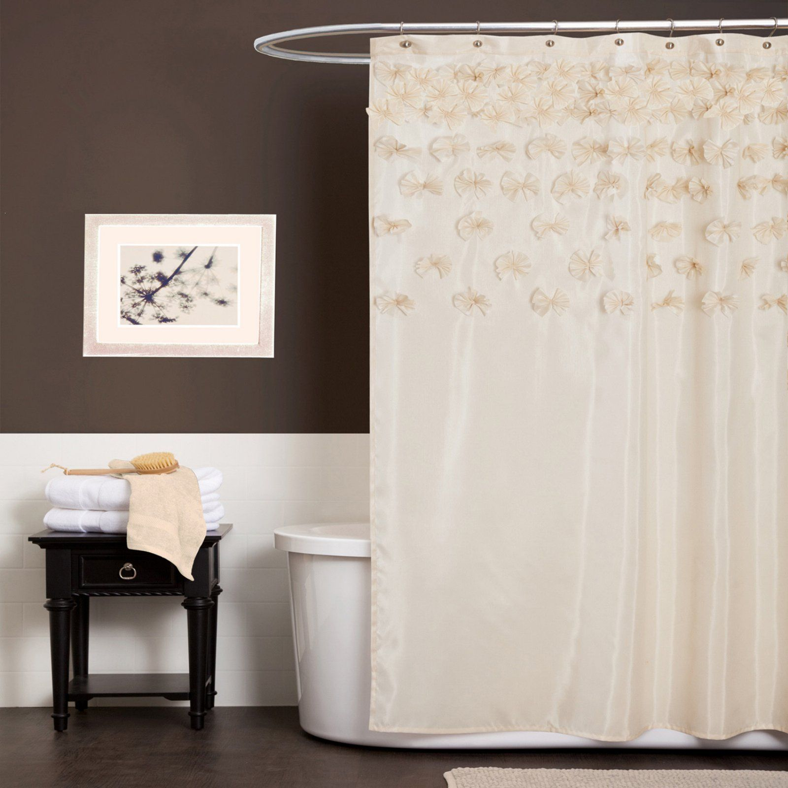 Lush Decor Lucia Ivory Shower Curtain Curtains Fabric Shower Curtains Shower Curtain Rods