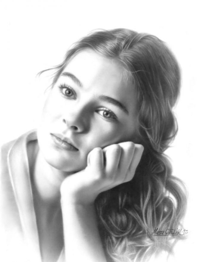 Cute girl portrait drawing musa celik