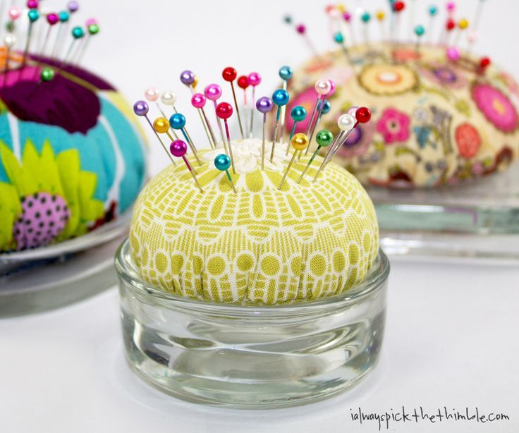 candle plate pincushions, with instructions Pin cushions