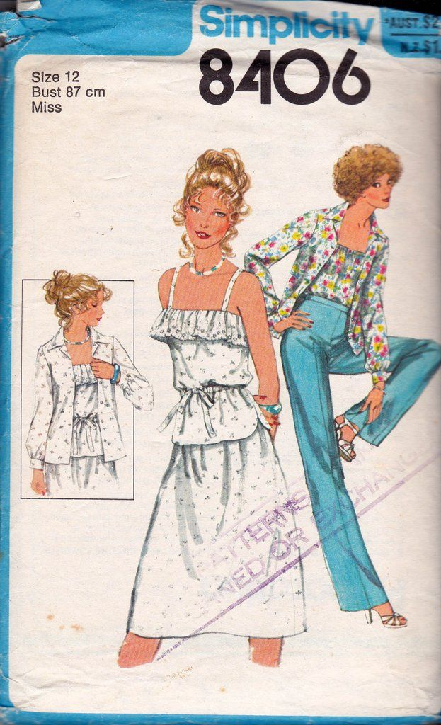 Simplicity 8406 Womens Shirt Peasant Top Pants Skirt 70s Vintage