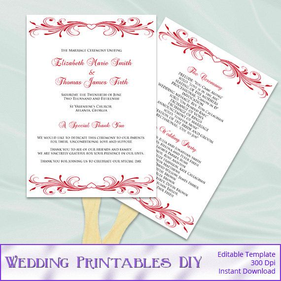 Wedding Fan Program Template Diy Printable Red Heart Order Of Ceremony Paddle Fans Programs Editable Text Instant Download Word Pdf P95