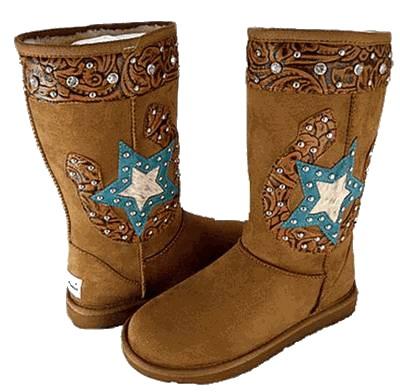 Brown Rhinestone Star Horseshoe Ugg Style Boots i need these!