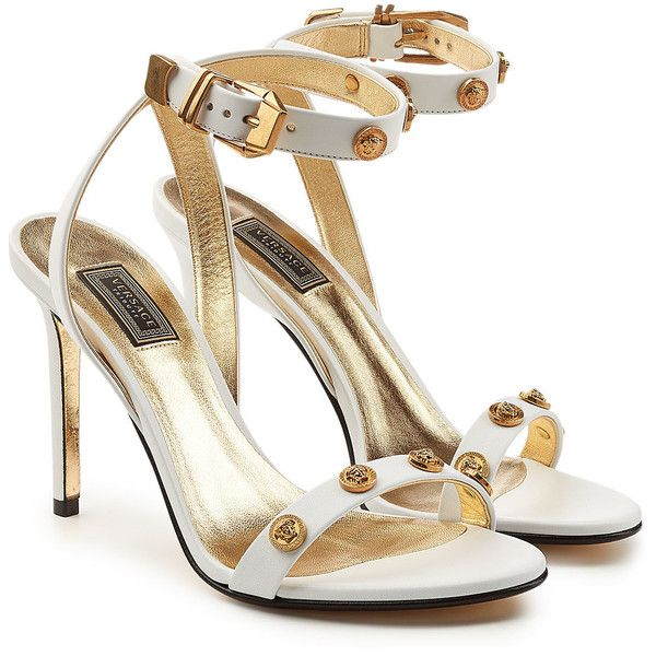 Cheap Price Cost Factory Outlet Online Embellished Leather Sandals - White Versace Clearance Fake Huge Surprise Online Buy Cheap Limited Edition q0Wpr