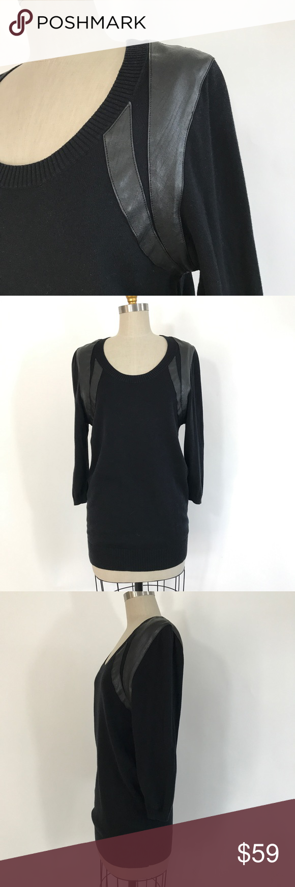 Silence   Noise black sweater leather shoulder L | Hand washing ...