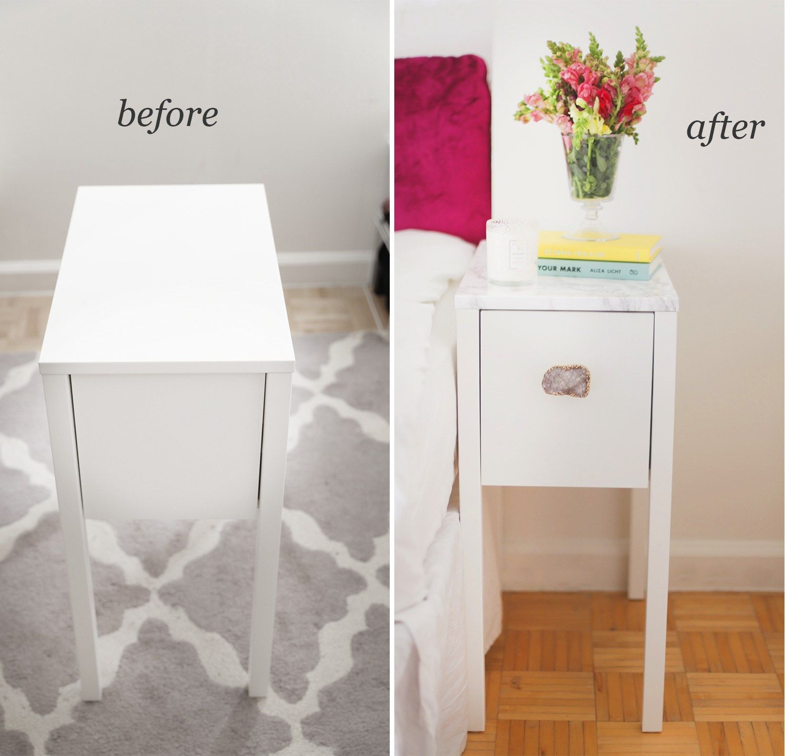 Before And After Ikea Nordli Nightstand With Built In Charging