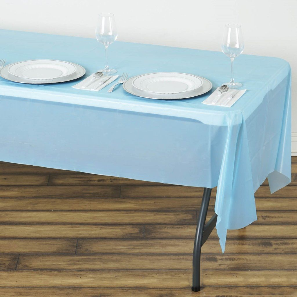 54 X 108 Serenity Blue 10 Mil Thick Waterproof Tablecloth Pvc Rectangle Disposable Tablecloth In 2020 Plastic Table Covers Table Cloth Plastic Tables