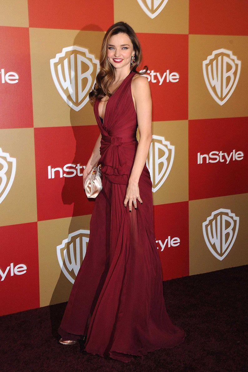 Miranda kerr golden globes burgundy chiffon deep vneck celebrity