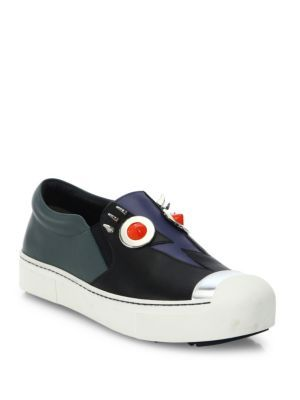 FENDI. Studded SneakersBlack Leather ...
