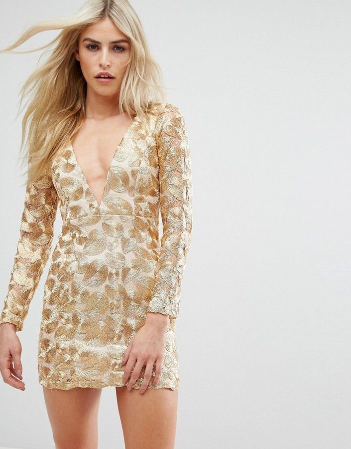 Love Triangle V Neck Mini Dress In All Over Metallic Lace Products