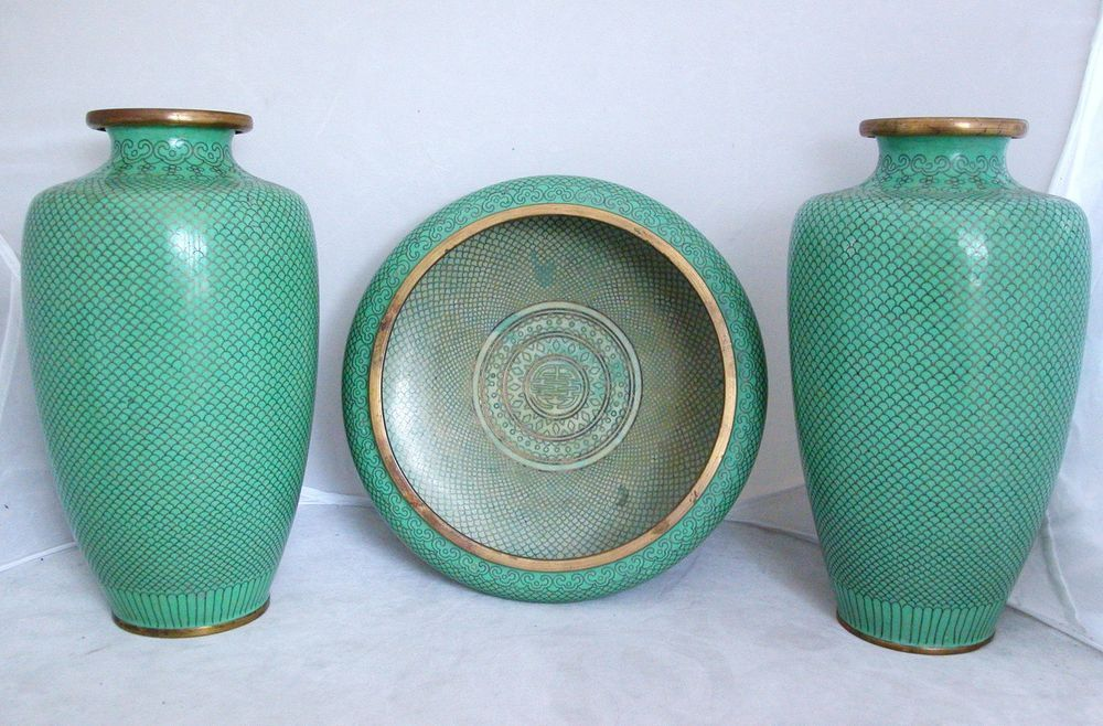 "These are INSANE!! // 3 Rare Pastel Green Color Antique Chinese Cloisonne Vases  (9.1"" Pair & 8.35"")"