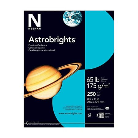"""Passport covers...Astrobrights® 30% Recycled Cover Stock, 8 1/2"""" x 11"""", 65 Lb, Lunar Blue, Pack Of 250 Sheets"""