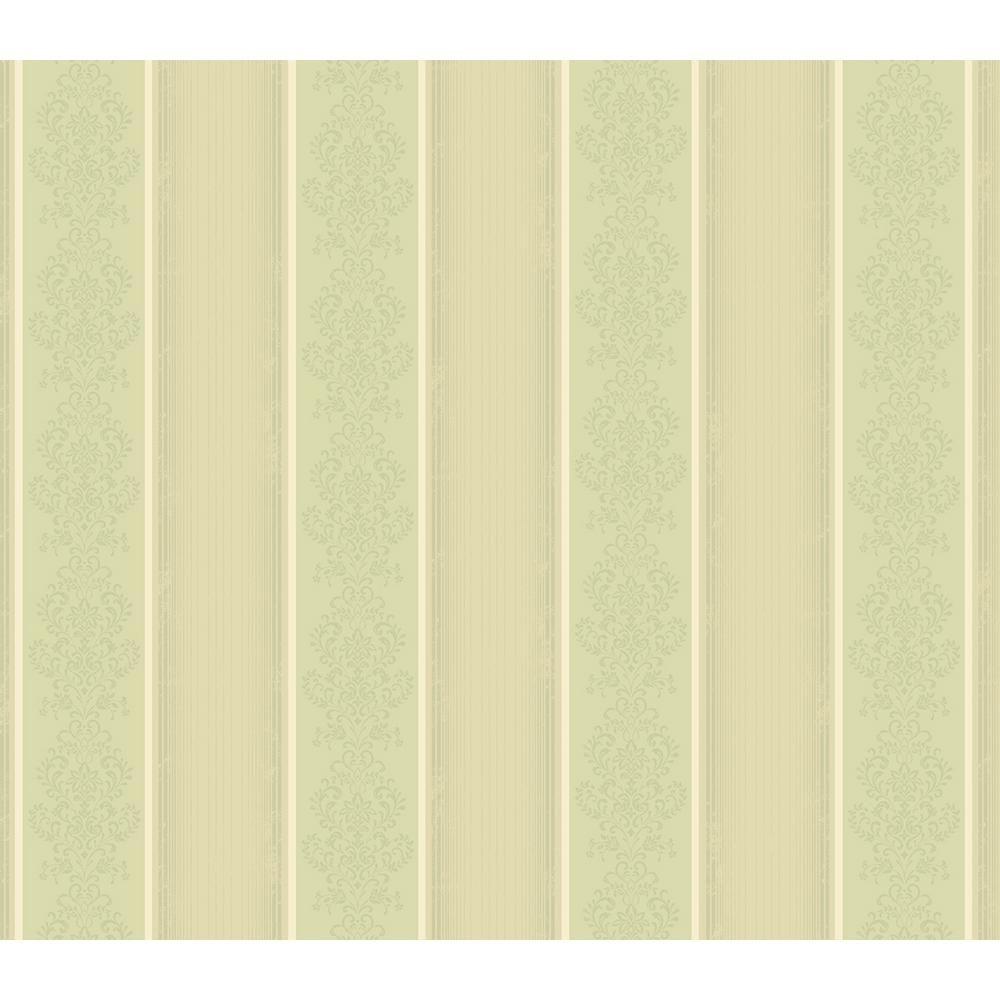 Arabelle Green Damask Stripe Wallpaper Sample Beige