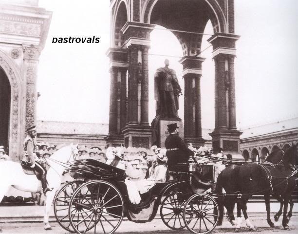 Tsar Nicholas II on horseback. Grand Duchesses in carriage.