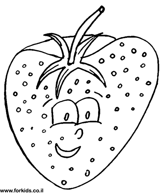 smiling Strawberry for paint | www.Forkids.co.il Coloring Pages ...