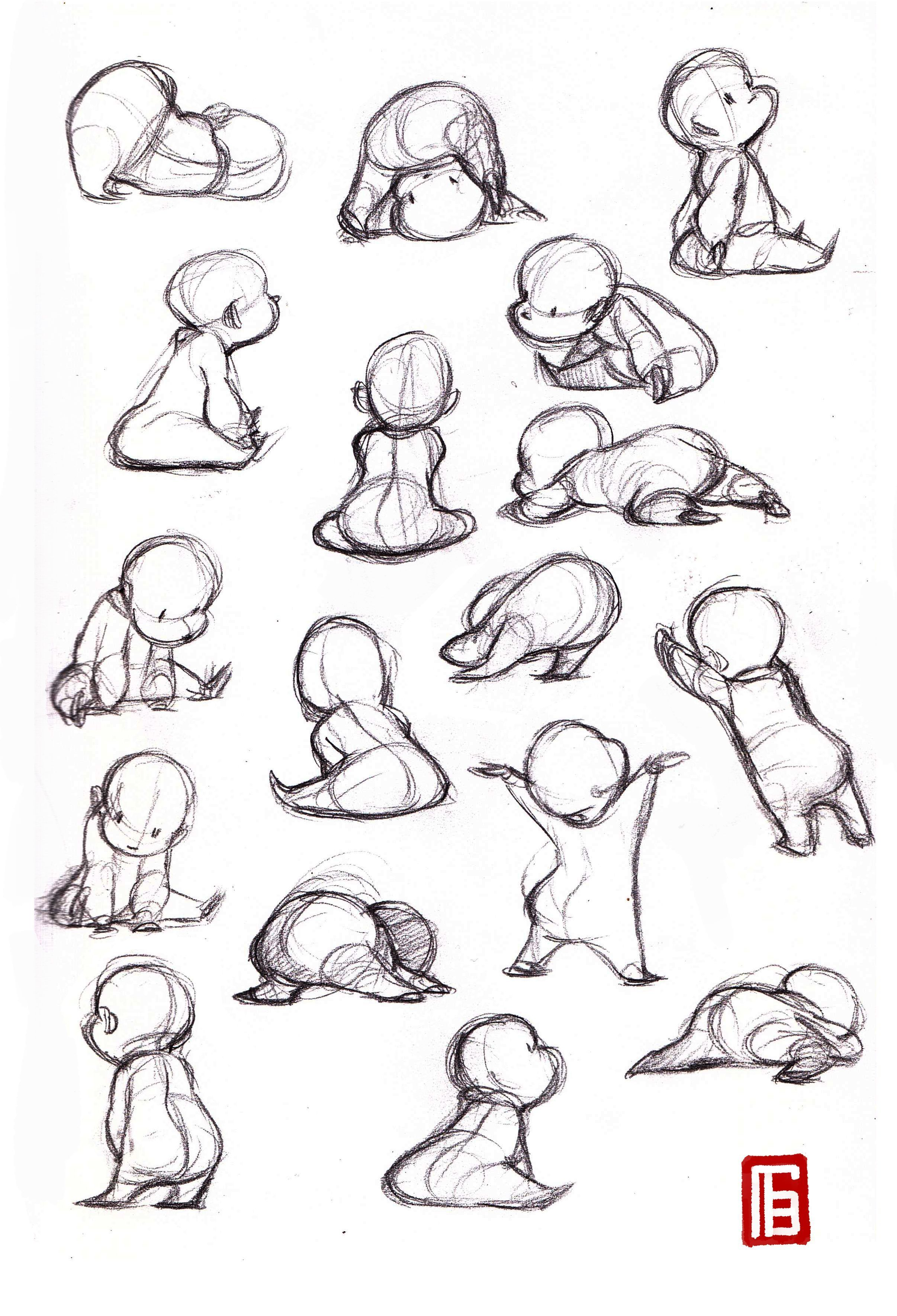 Anatomy drawing reference; drawing babies; baby poses // gesture ...