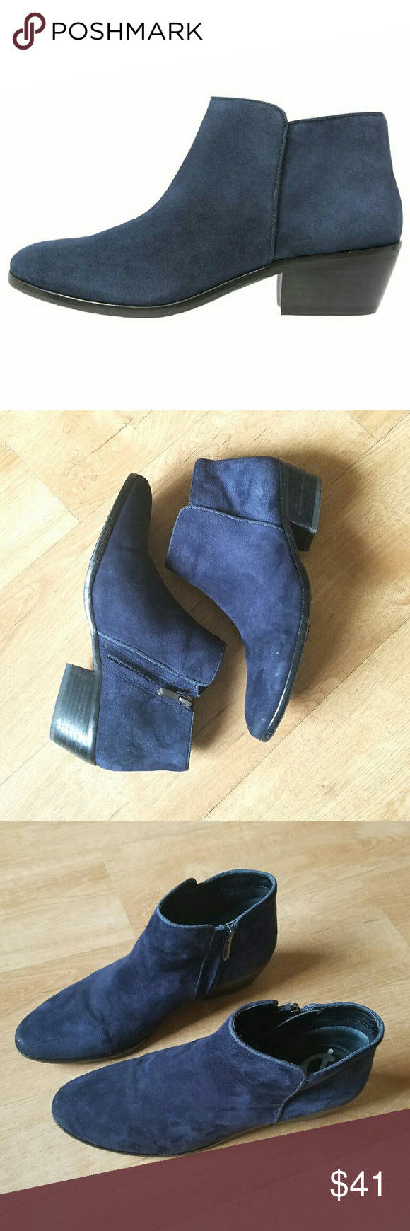 5e9c3be1f5708 Sam Edelman Petty Ankle Boots in Navy Blue Suede Sam Edelman Petty booties.  A minimalist profile and low