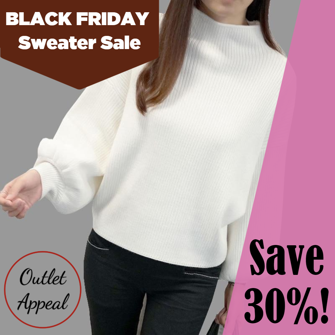 Turtleneck Batwing Sleeve Loose Sweater Pullover in Outlet