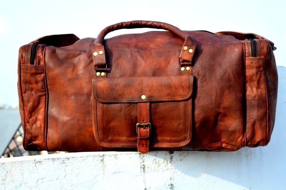 Genuine Leather luggage gym weekend 24inch overnight Duffle bag large vintage