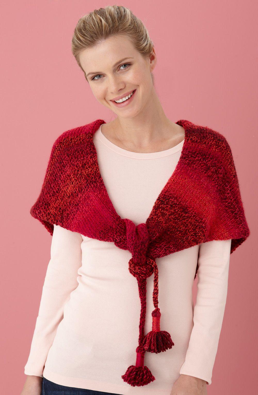 Tasseled Shawl in Lion Brand Tweed Stripes - L10511 Free ...