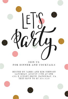 Lets Party Printable Invitation Template Customize Add Text And Photos Print Send Online Or Order Printed Invitations Diy