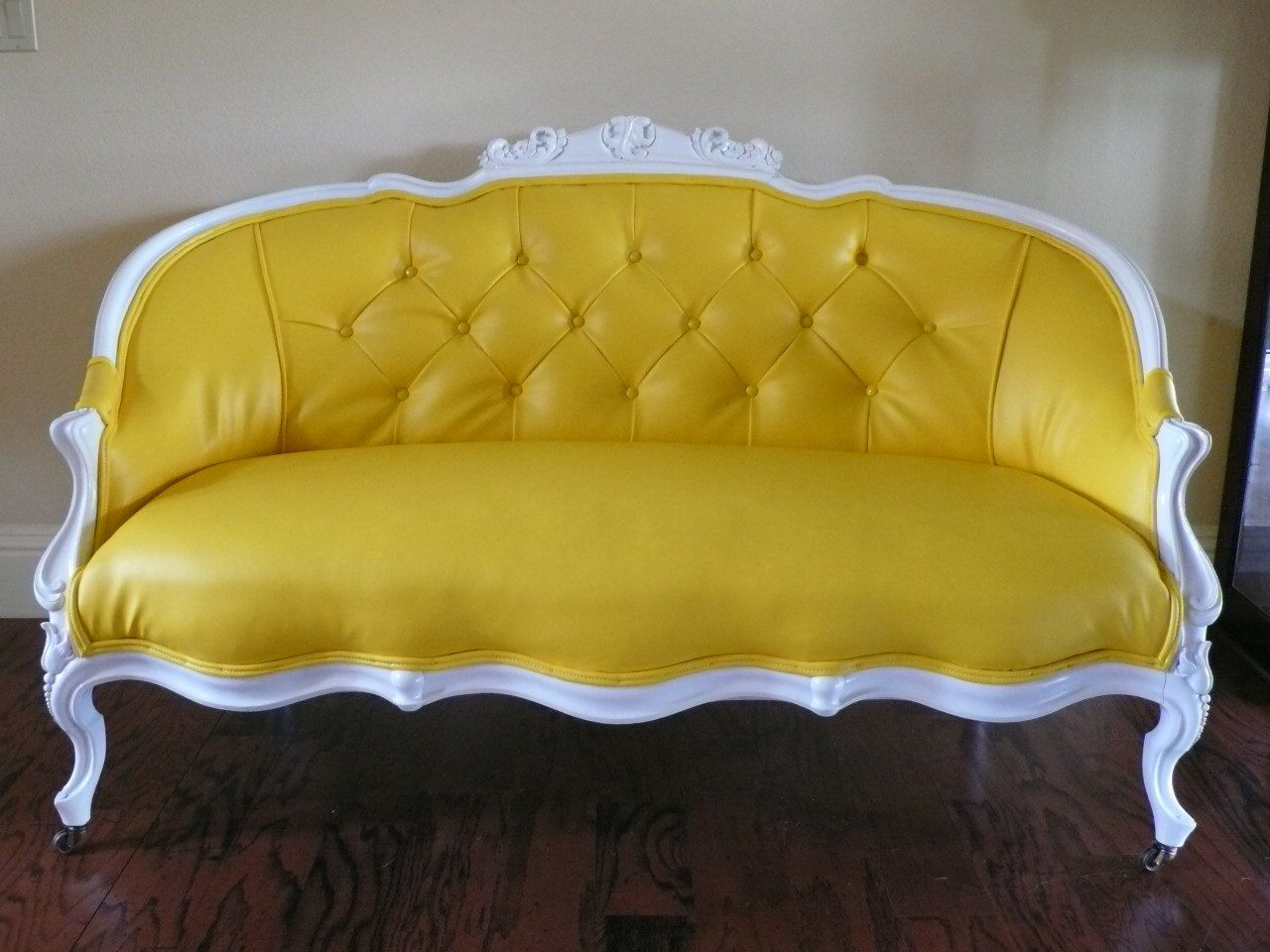 french love seat sofa couch yellow faux leather etsy sofas pinterest. Black Bedroom Furniture Sets. Home Design Ideas