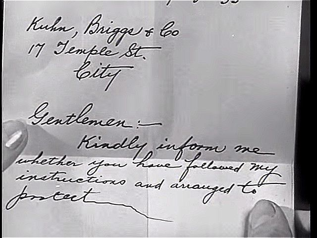 An unfinished letter, found in the dead man's hand | The Dark Hour (1936)