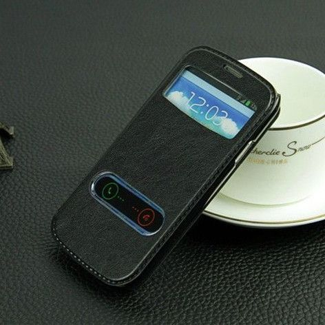 View Window Leather PU Flip Case for Samsung S3 I9300 Cover Siii Stand Skin To Accept / Reject Incoming Call PY