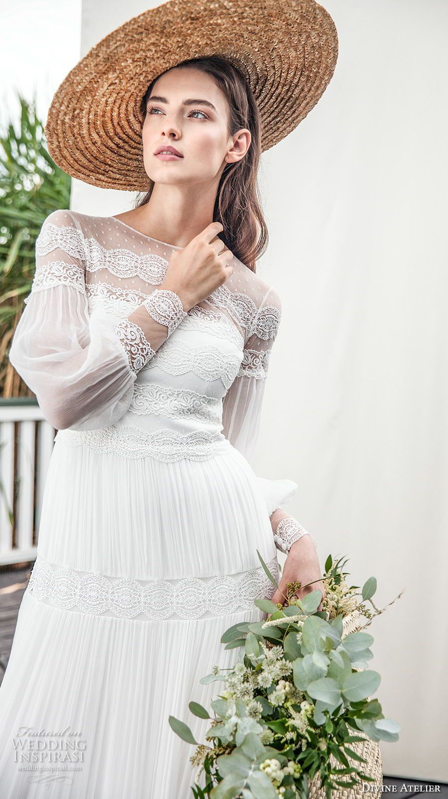 Boho wedding dress with sleeves  Divine Atelier  Wedding Dresses  Atelier Illusions and Bohemian