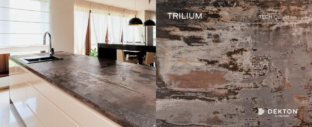 new dekton trilium is inspired by the industrialized look of oxidized steel a mix of volcanic. Black Bedroom Furniture Sets. Home Design Ideas