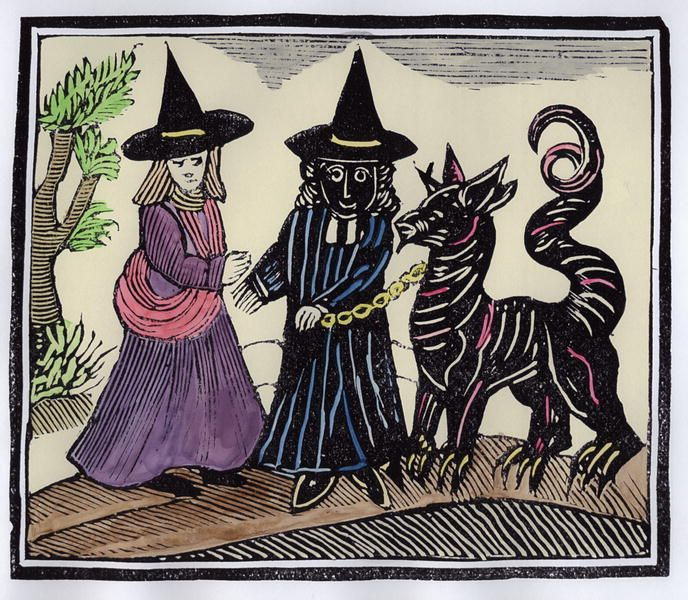 """A Witch meets """"The Black Man and the Great Goat"""" at the crossroads. The """"Black Man,"""" anthropomorphic guardian of the Sabbat and Lord of the Crossroads."""