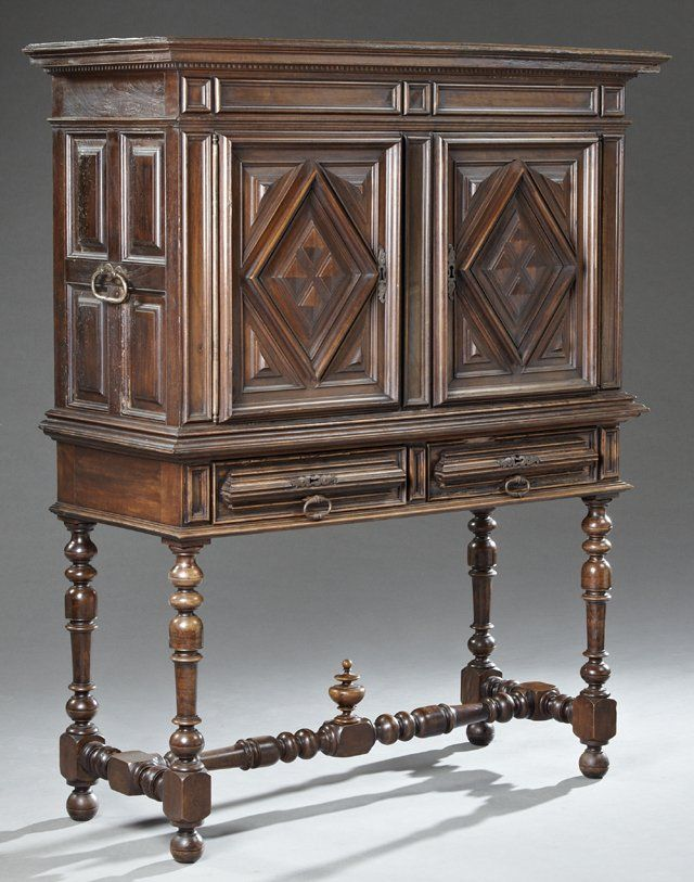 French Louis Xiii Style Carved Walnut Cabinet On Stand Lot 426 Inspiration Deco Mobilier Brique Et Pierre
