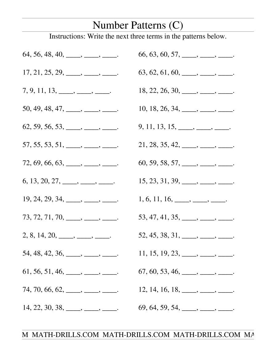 The Growing And Shrinking Number Patterns C Math Worksheet From The Patterning Worksheets Pa Number Patterns Worksheets Grade 6 Math Worksheets Math Patterns