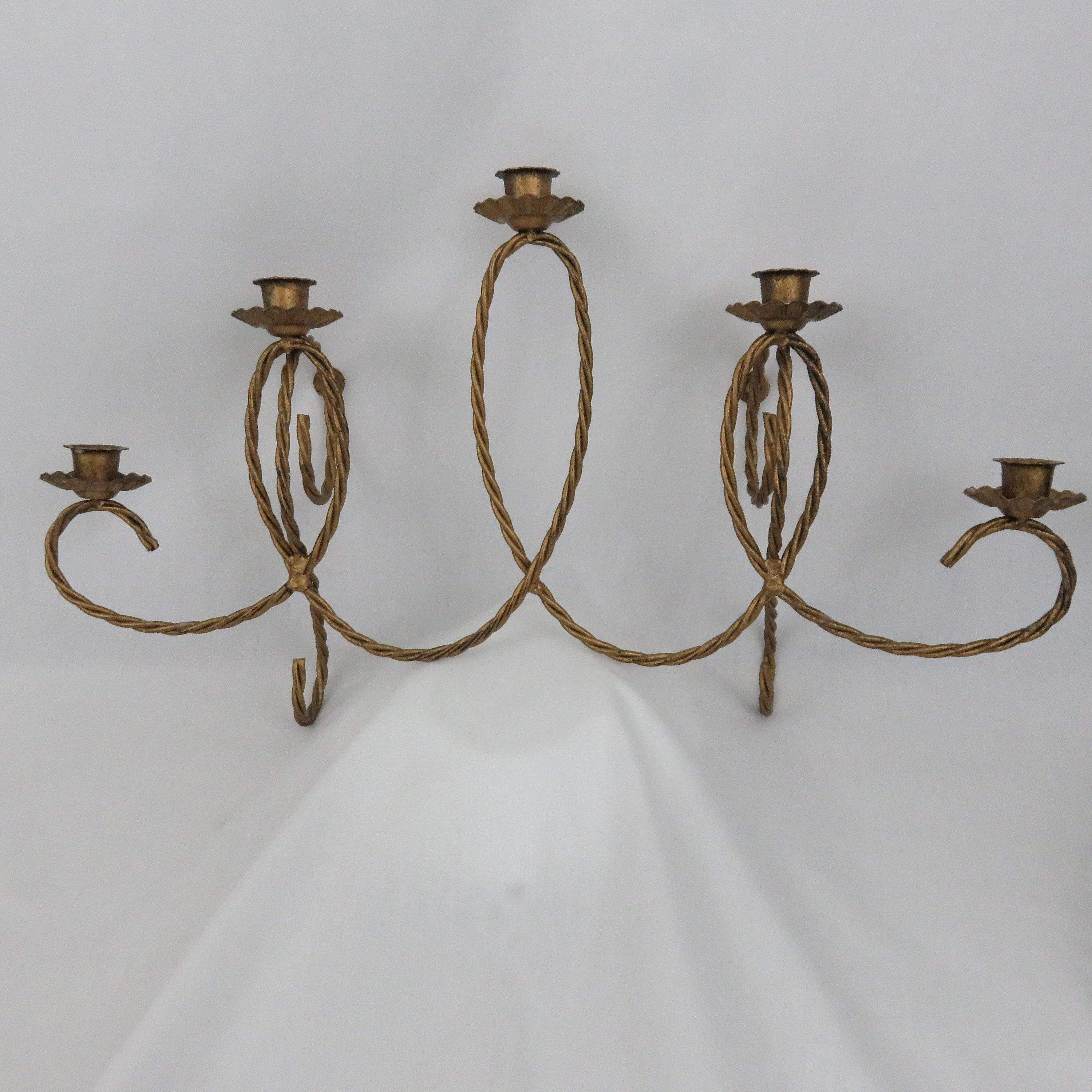 Pair of Vintage Candle Antique Gold TwistedMetal Rope Design Wall Sconces