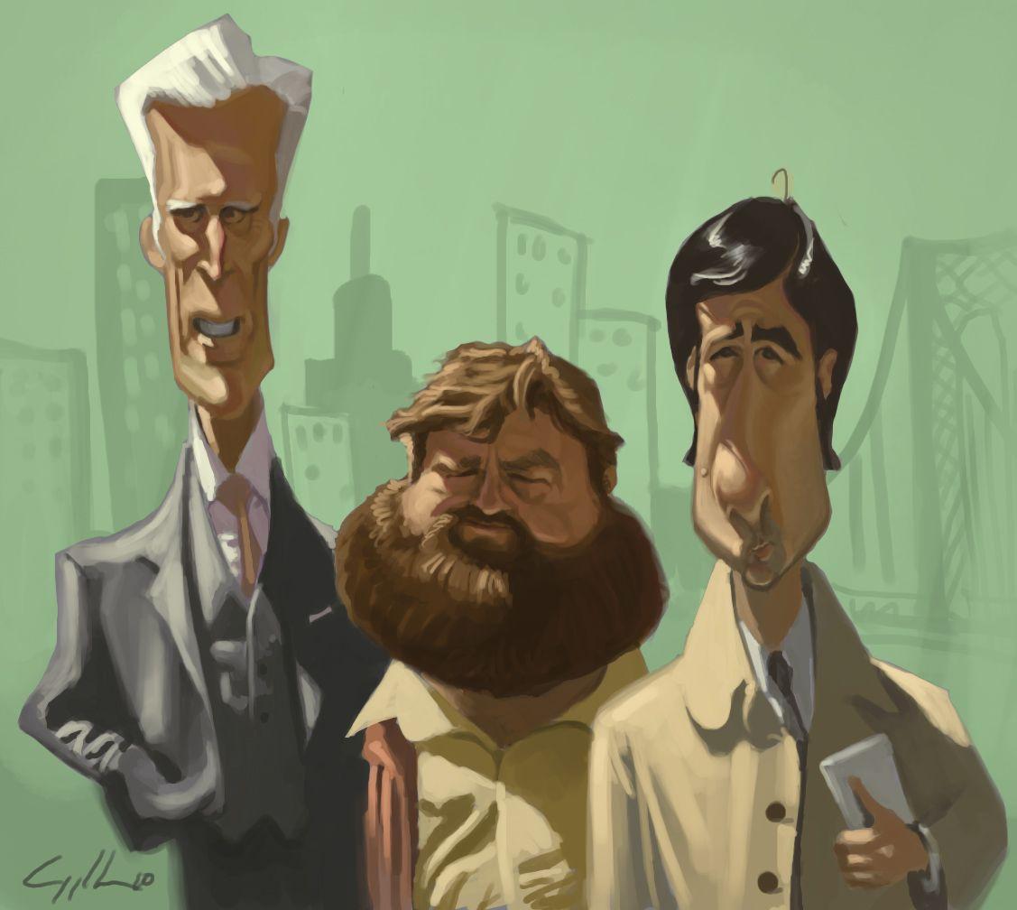digital caricature of Ted Danson, Zach Galifanakis and Jason Schwartzman, via sketchoholic
