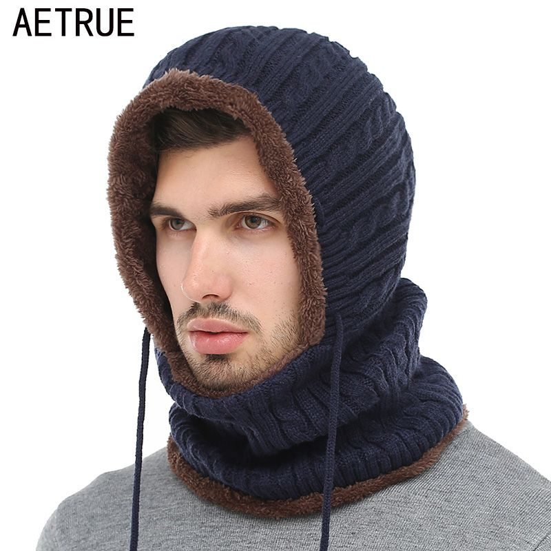ba44c1e6fe3 AETRUE Winter Knitted Hat Beanie Men Scarf Skullies Beanies Winter Hats For Women  Men Caps Gorras Bonnet Mask Brand Hats 2018