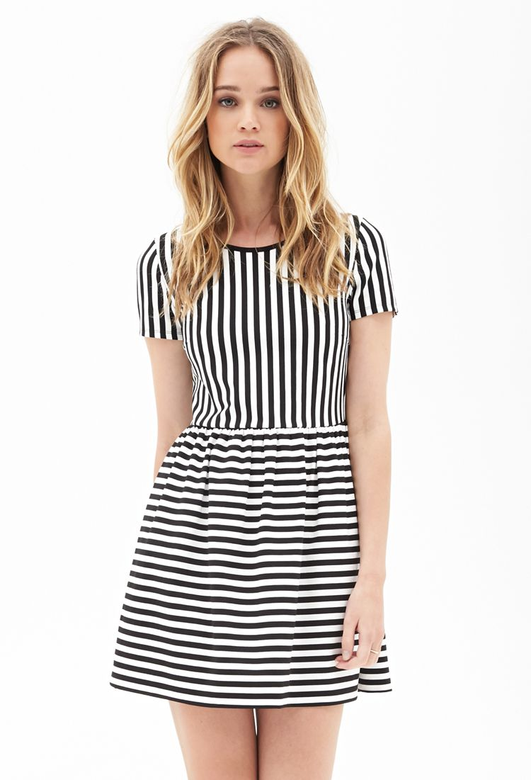 Darling Striped Dress  FOREVER    CLOTHING