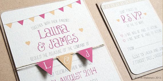 Summer Fair Wedding Invitation Cute Wedding Bunting Personalised