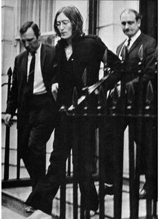 """The infamous """"Sergeant Pilcher"""" drug bust of John Lennon (& Yoko Ono) that would put them in court facing drug charges for cannabis, October 1968."""