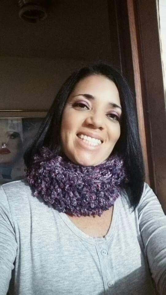 Cuello tejido a crochet Lana gruesa, puntos altos en relieve