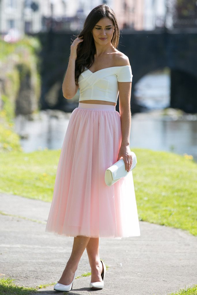 Tulle Midi Baby Pink Skirt White Off The Shoulder Crop