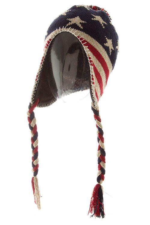 356c460d60f American flag winter hat Knitted Headband