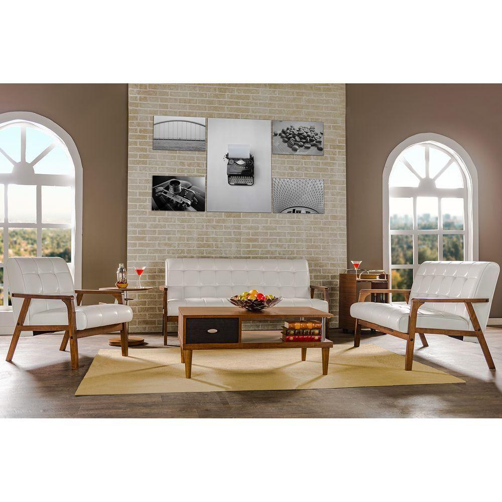 Best Baxton Studio Masterpiece Mid Century White Faux Leather 400 x 300