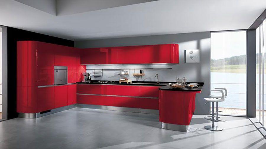 Cucina rossa moderna 04   Kuchynská linka   Pinterest   Kitchen ...