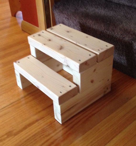 A Small Wood Step Stool Made From Sturdy 2x4s Great For Helping