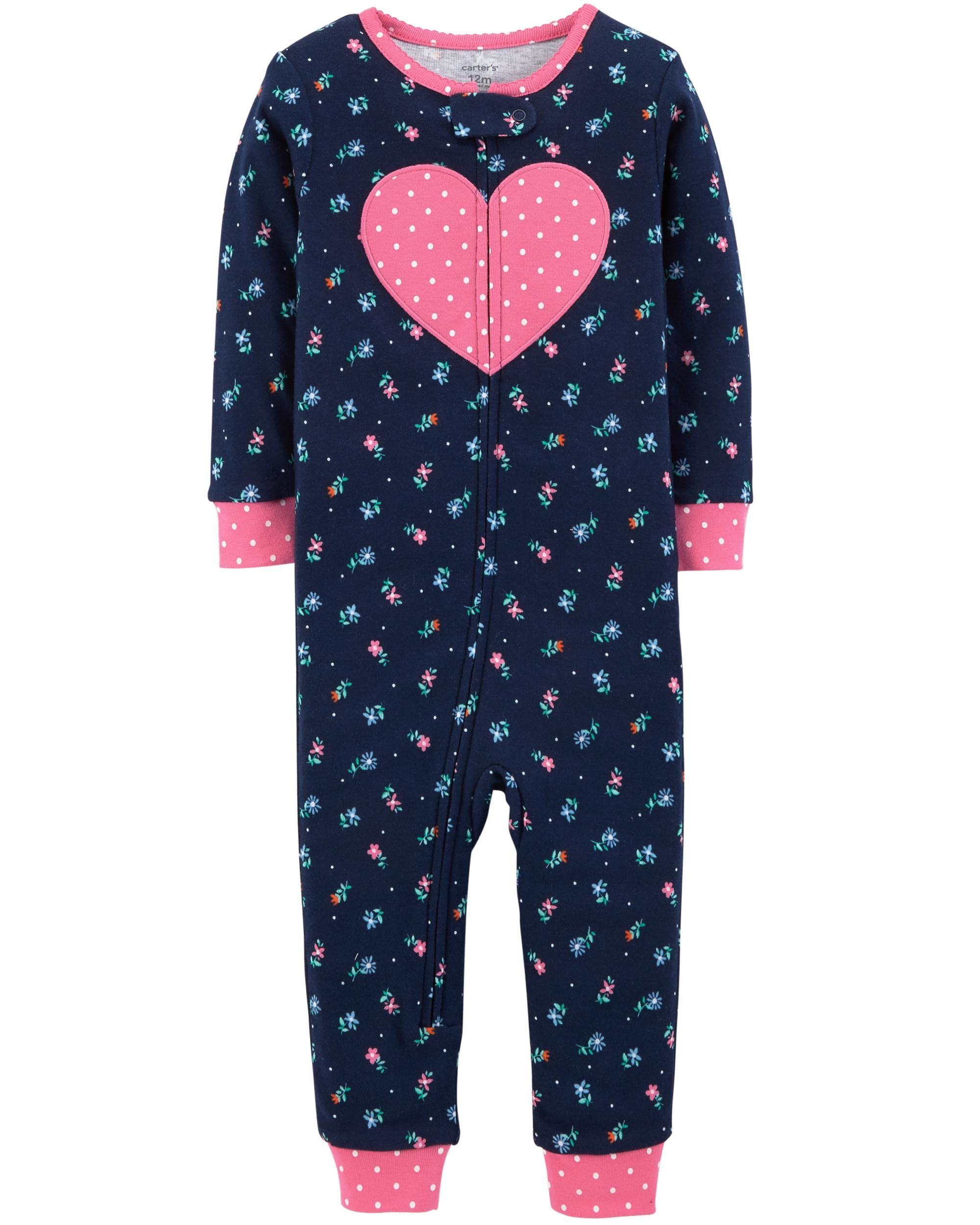 21ef5afbc4ff 1-Piece Heart Snug Fit Cotton Footless PJs