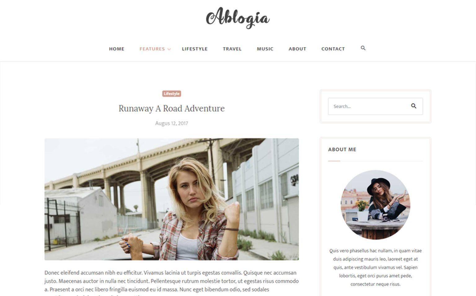 Ablogia Personal Blog Website Template Website