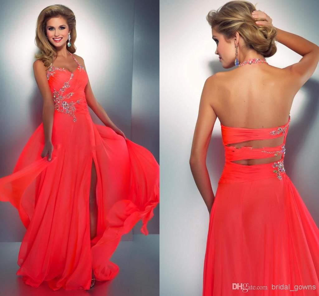Cheap coral colored prom dresses crystal embellished halter