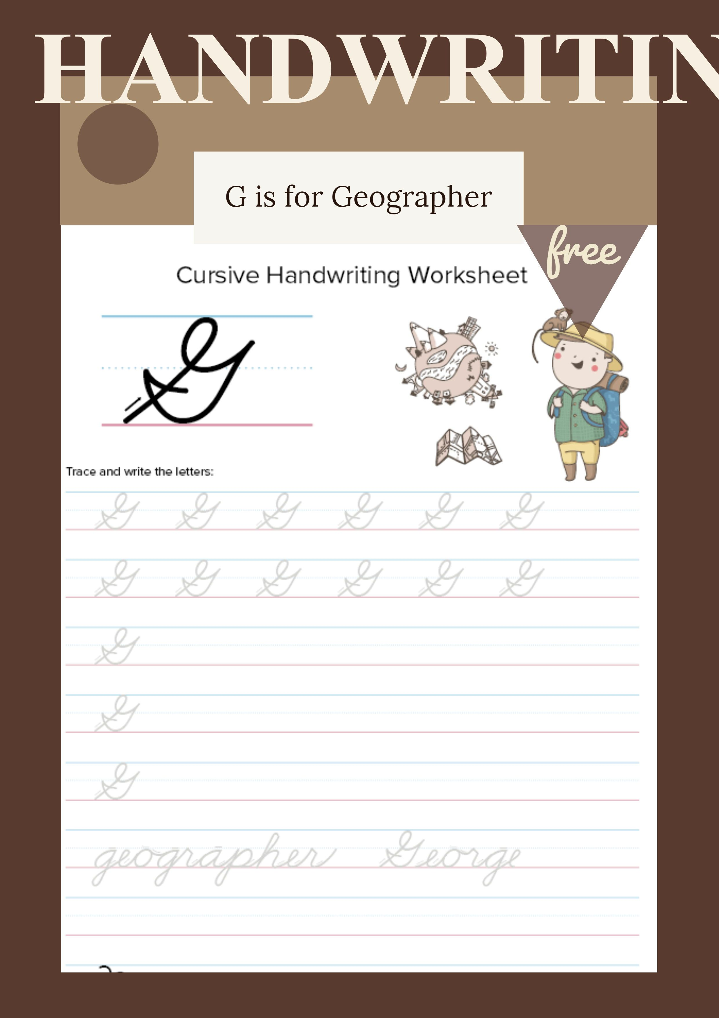 Cursive Uppercase G Worksheet